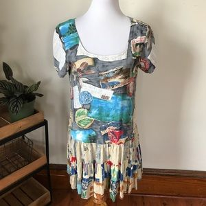 Jams World Travel Print Pleated Rayon Sundress